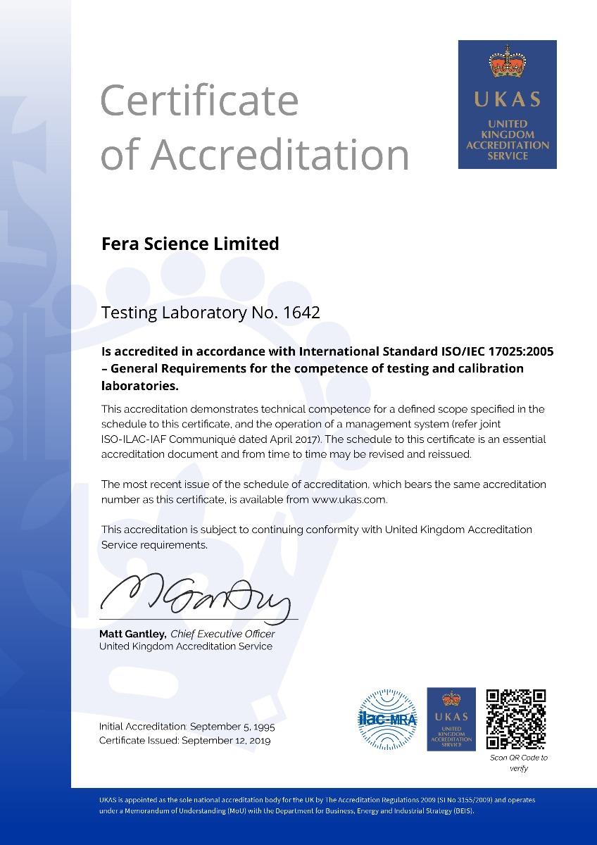 Fera Science Testing Certificate