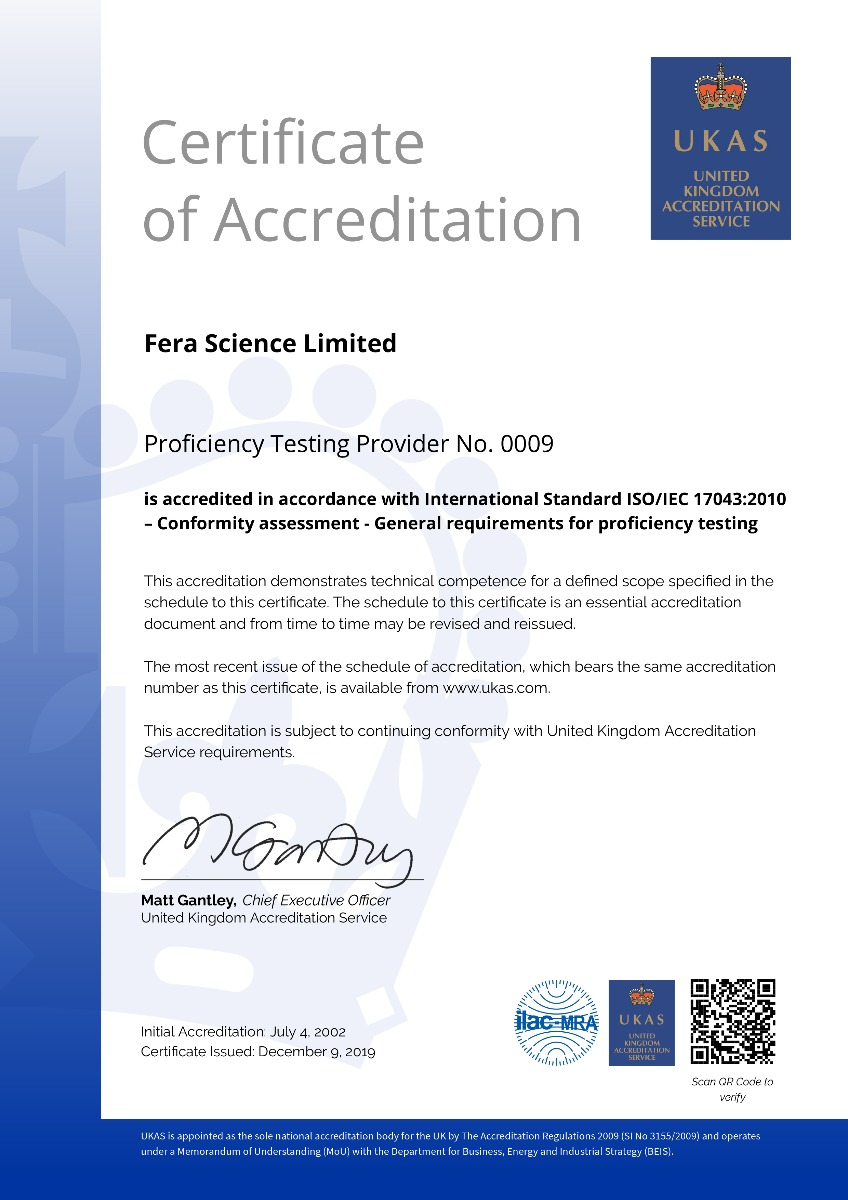 Fera - Proficiency Testing certificate