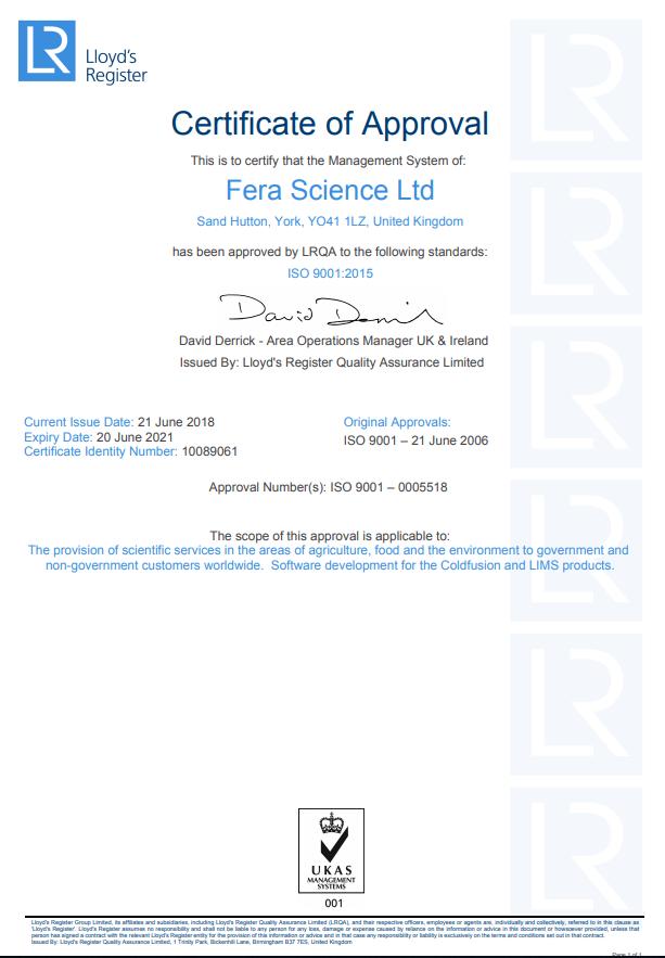 Fera Science ISO9001: 2015 certificate