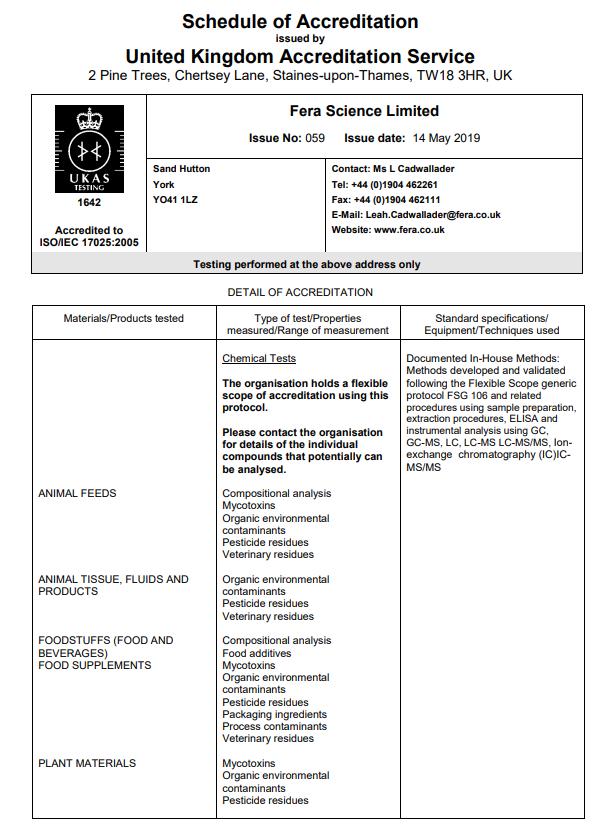Fera Science Schedule of Accreditation