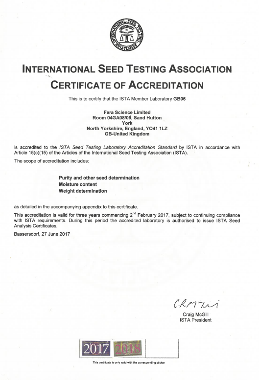 ISTA Certificate of Accreditation