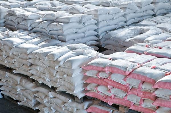 food sacks in warehouse